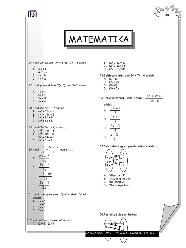 Soal matematika smp kelas 8 ccuart Image collections