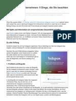 Instagram für Unternehmen - 5 Dinge, die Sie beachten müssen