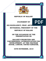 "President Arthur Peter Mutharika's Presentation on ""Malawi's Priorities and Partnerships"