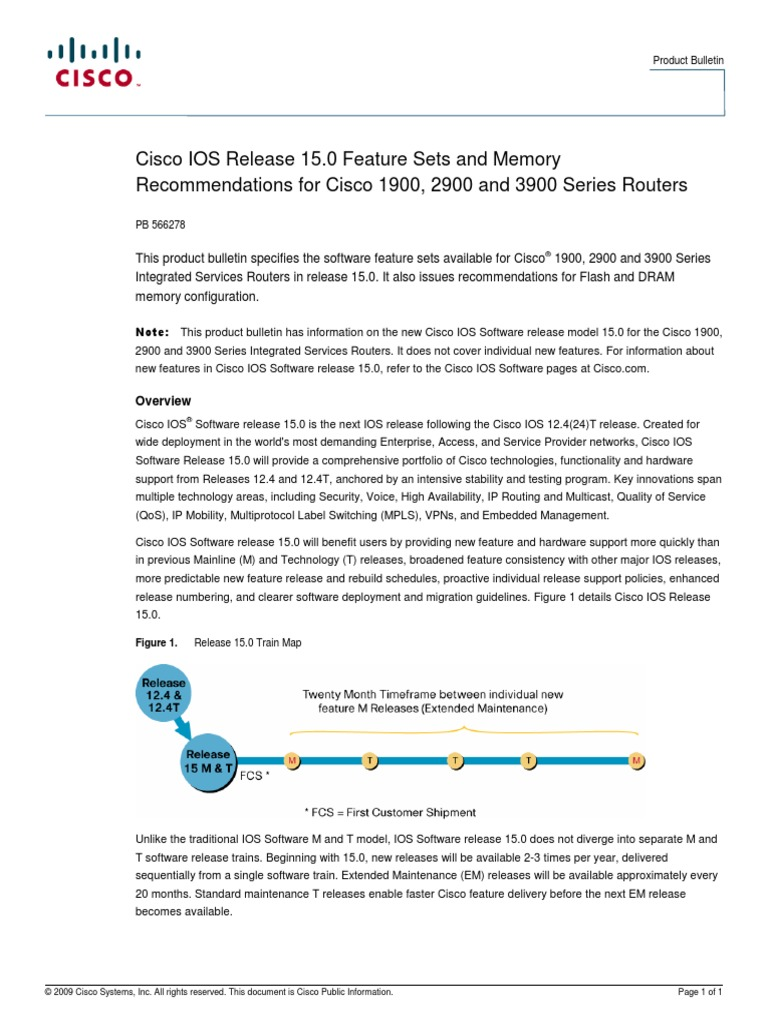 Cisco IOS Release 15 0 Feature Sets and Memory_1900+2900+3900
