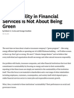 Sustainability in Financial Services is Not About Being Green