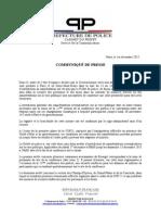 Communiqué de la préfecture de police de Paris (01/12/2015)