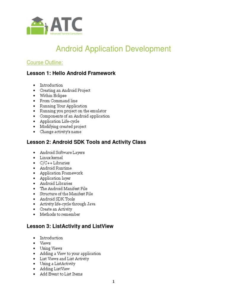 Android Application Development_Course Outline | Android