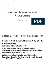 Excise Clearance and Procedures