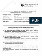 SBSC1103 BASIC SCIENCE SEMESTER SEPTEMBER 2012 FINAL PAPER OUM OPEN UNIVERSITY MALAYSIA
