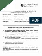 SBST1303 ELEMENTARY STATISTIC SEMESTER SEPTEMBER 2012 FINAL PAPER OUM OPEN UNIVERSITY MALAYSIA