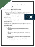 Performmmance Appraisal Method