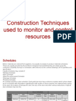 Construction Techniques Used To Monitor and Control Resources