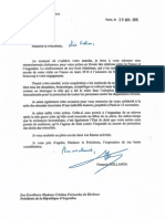 Carta de Hollande para Cristina