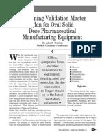 Cleaning Validation Master Plan