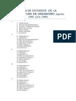Plan de Estudios de La Licenciatura en Urbanismo