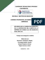 Cadena de Suministro Influencia en El Cliente.. Proyecto
