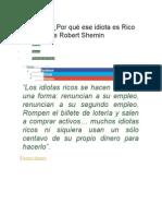 Revisión ¿Por Qué Ese Idiota Es Rico y Yo No de Robert Shemin