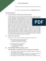 Legal Memorandum Initial Public Offering
