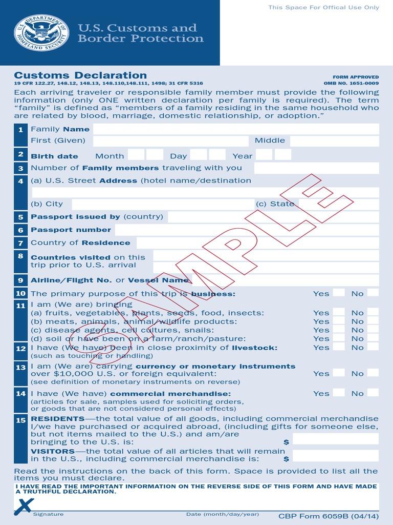 CBP Form 6059B English (Sample Watermark) | Alfândega e