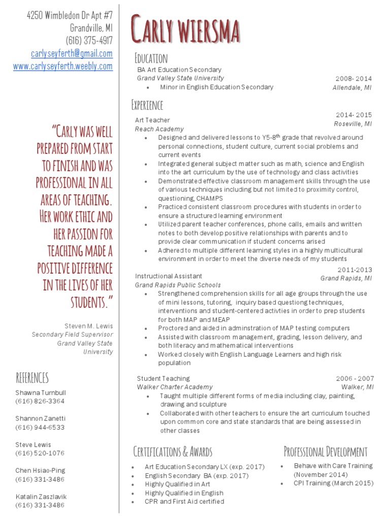 Resume only classroom management classroom xflitez Gallery