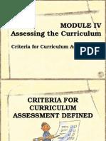 Assessment of Curriculum Development