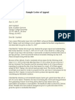 Sample Letter of Appeal