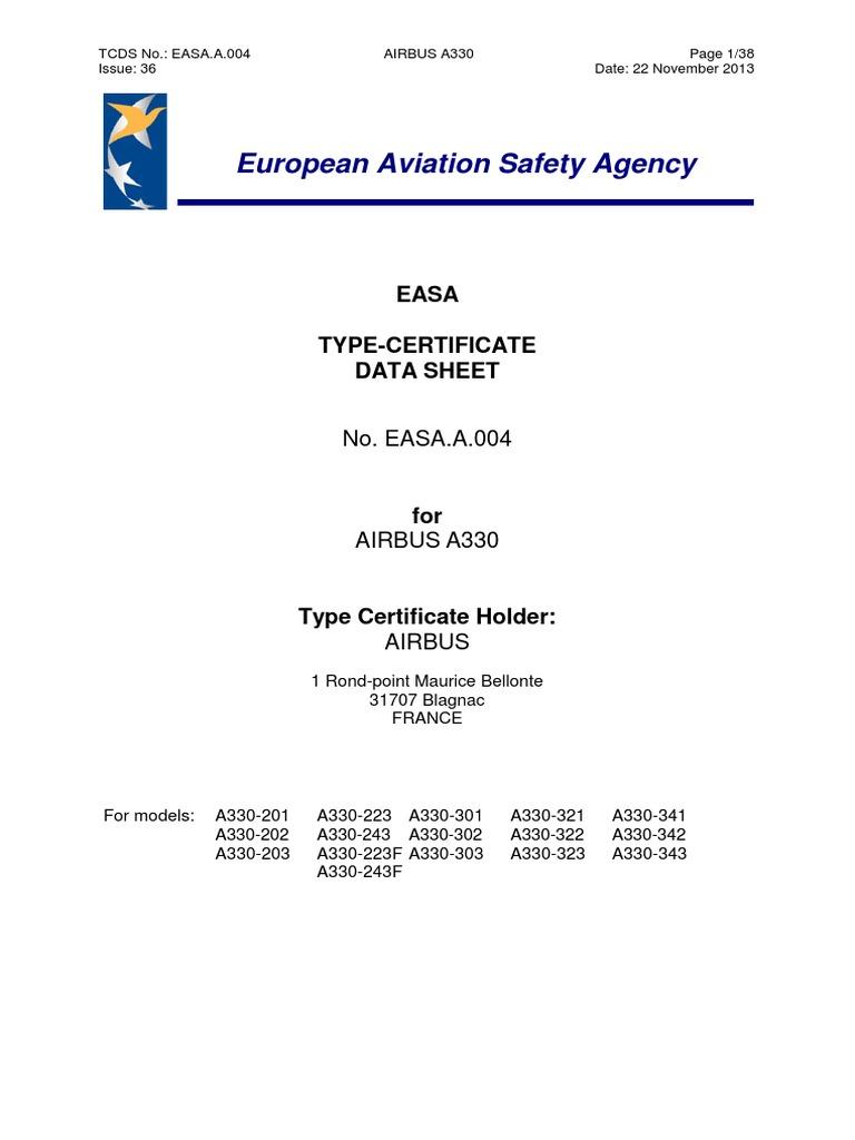 Easa Tcds A004airbus330 36 22112013 Airplane Aviation