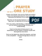 A Prayer Before Study