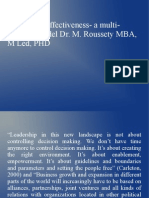 Leadership Effectiveness- A Multi-factorial Model Dr. M. Roussety MBA, M Led, PHD