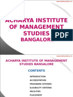 Acharya Institute of Management Studies Bangalore|MBA|PGDM