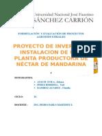 PROYECTO DE INVERSIÓN, INSTALACIÓN DE UNA PLANTA PRODUCTORA DE NÉCTAR  DE MANDARINA