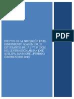 Efectos de La Nutrición en El Rendimiento Academico de Los Estudiantes.
