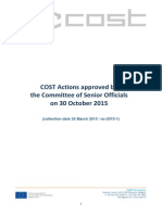 Списак нових COST Акција одобрених за финансирање