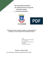 Consideraciones éticas y culturales recogidas en el Código de Ética del Psicólogo y en la Ley del ejercicio de la Psicología en Venezuela