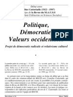 Castoriadis (Debat Av MAUSS) Politique Democratie Valeurs