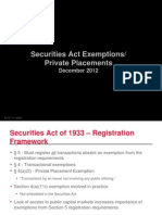 Securities Act Exemptions Private Placements