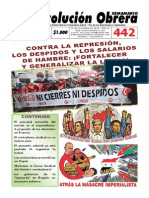Semanario Revolución Obrera Edición No. 442