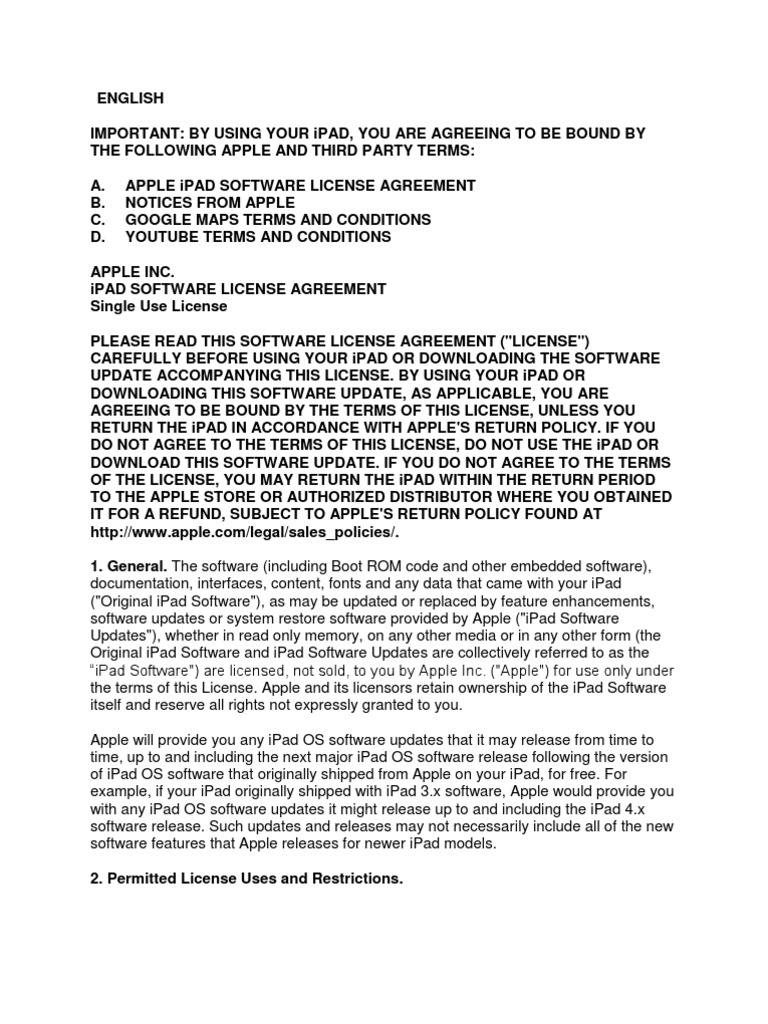 Ipad Software License Agreement You Tube Damages