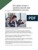 Morales Pide a Países Vecinos y Europeos Garantizar Mercado Para Productos Alternativos a La Coca