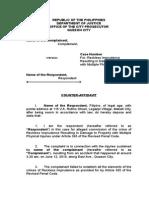 Sample Counter Affidavit Reckless Imprudence