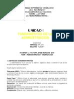 Unidad I Fundamentos Administrativos