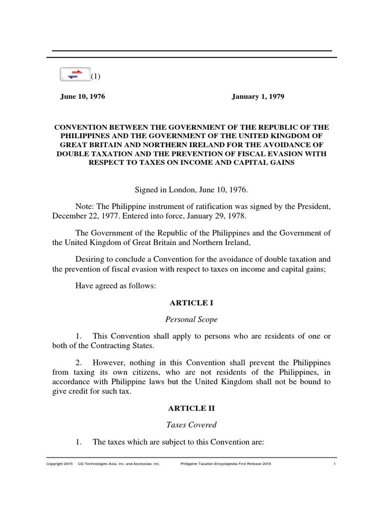 Rp Uk Tax Treaty Permanent Establishment Dividend