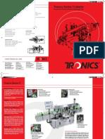 Pressure Sensitive Labelers, Pressure Sensitive Labeling Machines, Equipment - Tronics America Brochures, Catalogs