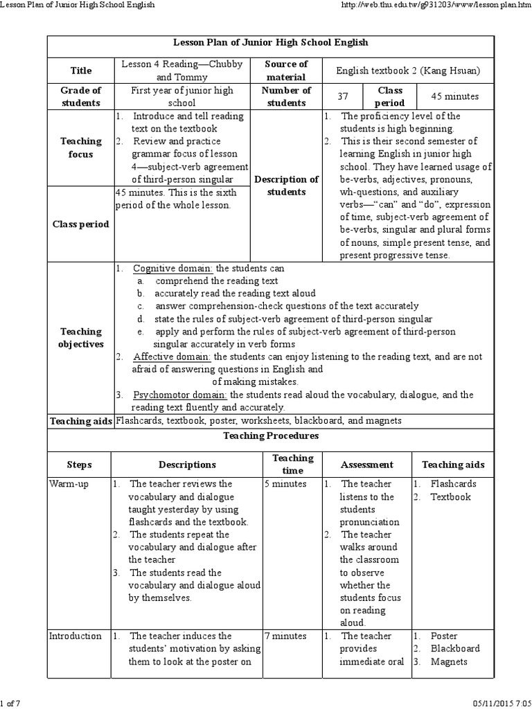 Lesson Plan of Junior High School English | Verb | Question