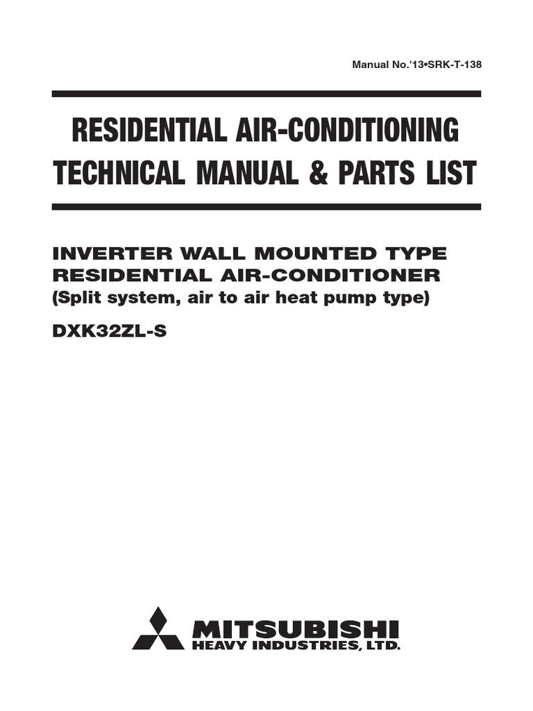 Mitubishi AirCon TechManual DXK32ZL S   Air Conditioning   Hvac
