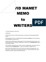 David Mamet Memo to Writers