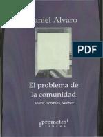 ALVARO, El problema de la comunidad. Marx, Tönnies, Weber (Introducción)