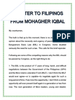 A Letter to Filipinos From Mohagher Iqbal