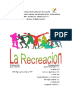 Trabajo de La Recreacion Completo