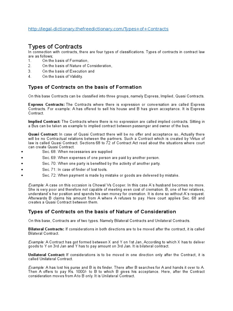 Example of contract for difference