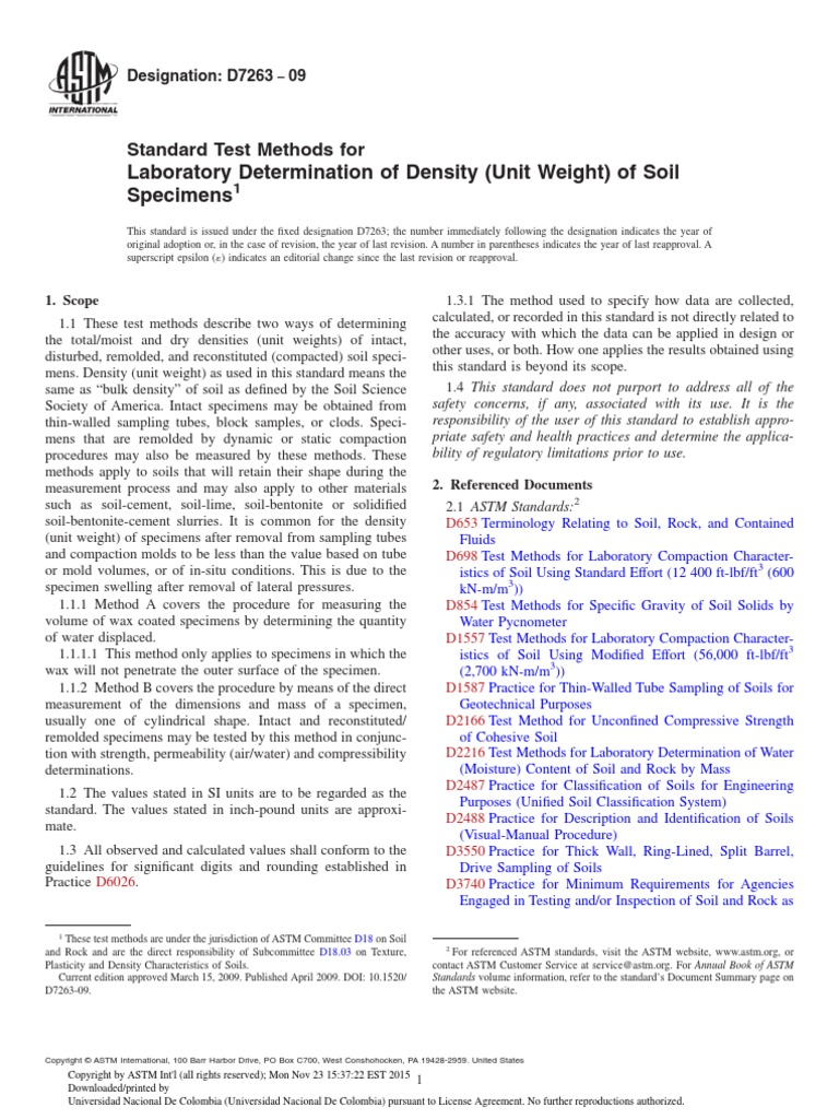 Soil density for Soil unit weight