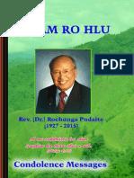 Hnam Rohlu - Rev. Dr. Rochunga Pudaite Condolence Messages