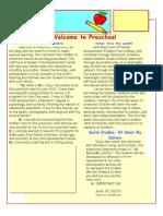 3-4 preschool newsletter