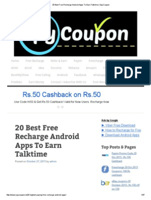 20 Best Free Recharge Android Apps To Earn Talktime Spycoupon Mobile App Coupon